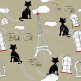 Sömlös modell med Paris och music-05 Arkivbild