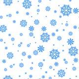 Sömlös modell med snöflingor och snö Retro tapetgarnering Illustration för jul för vektorferieprydnad Royaltyfria Bilder