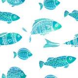 Sömlös modell med vattenfärgfisken klotter Royaltyfria Bilder
