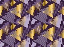 Sömlös modern modell för julgran Rik violett färgbackgr Arkivfoto