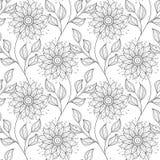 Sömlös monokrom blom- modell för vektor Royaltyfri Bild