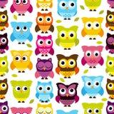 Sömlös och Tileable vektor Owl Background Pattern Royaltyfri Bild