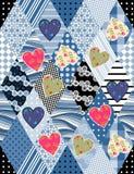 Sömlös patchworkmodell med applique av färgrika hjärtor Arkivfoton