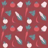Sömlös plan vektormodell för frukt och för grönsak Royaltyfri Bild