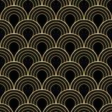 Sömlös svart och guld- art décotjugotaltappning mönstrar vektorn Arkivfoton