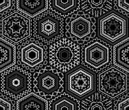 Sömlös svartvit broderimodell Arkivbilder
