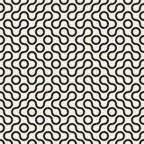 Sömlös svartvit rundad cirkel Maze Line Truchet Pattern för vektor Royaltyfri Fotografi