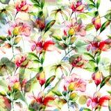 Sömlös tapet med lilja- och Gerber blommor Royaltyfria Foton