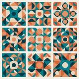 Sömlös Teal Orange Retro Geometric Ethnic för vektor modell Arkivfoto