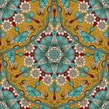Sömlös textur för vektor med den blom- mandalaen i indisk stil Mehndi dekorativ bakgrund Arkivbild