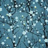 Sömlös trädmodell. Japansk körsbärsröd blomning Royaltyfri Foto
