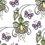 Sömlös utsmyckad blom- modell med fjärilar Royaltyfri Fotografi