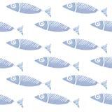 Sömlös vattenfärgfiskmodell, bakgrund Royaltyfri Fotografi