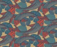 Sömlös vektormodell med den hand drog Koi fisken Royaltyfria Bilder