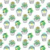 Sömlös vektormodell med kaktuns Färgrik bakgrund med vattenfärgfärgstänk och kakturs Suckulent samling Royaltyfri Bild