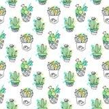 Sömlös vektormodell med kaktuns Färgrik bakgrund med vattenfärgfärgstänk och kakturs Suckulent samling Arkivfoton