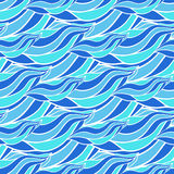 Sömlös våg hand-dragen modell, blå bakgrund för vågvektor Kan användas för tapeten, modellpåfyllningar, webbsidabakgrund, brännin Royaltyfri Bild