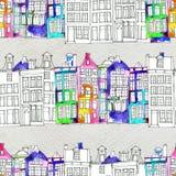 Sömlösa Amsterdam för modelleithvattenfärg hus Royaltyfri Fotografi