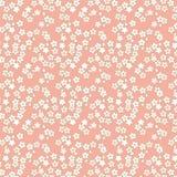 Sömlösa rosa färger och guld- för blommamodell för körsbärsröd blomning bakgrund Royaltyfri Foto