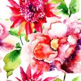 Sömlösa tapeter med den härliga rosa färgblomman Royaltyfria Bilder