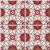 Sömlösa väggtegelplattor för tappning av den orientaliska röda spiralen som är marockanska, portugis Arkivfoto