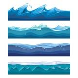Sömlöst hav, hav, vattenvågvektor Royaltyfri Bild