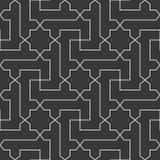 Sömlöst svartvitt klassiskt arabiskt diagonalkors och vektor för stjärnamodell Arkivbilder
