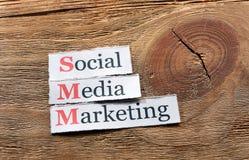 SMM - Commercializzazione sociale di media Fotografie Stock Libere da Diritti
