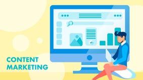 SMM, concept plat de vecteur de bannière de vente de contenu illustration de vecteur