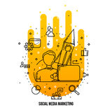 SMM expert specialist freelance. Social media marketing concept  ions set. Stock Image