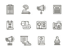 SMM flat line icons collection Stock Photography