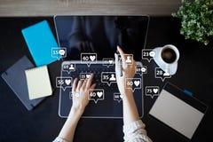 SMM, gostos, seguidores e ícones da mensagem na tela virtual Mercado social dos media Negócio e conceito do Internet fotos de stock