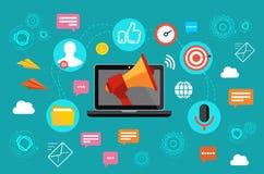 SMM-Konzept-Vektorillustration Kommunikations- und Förderungsstrategie mit Social Media Stockbilder