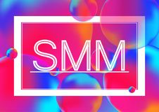 SMM letters marketing concept vector illustration on Neon color balls background with white frame. Abstract colorful 3D. SMM letters marketing concept vector Stock Photo