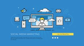 SMM linear web illustration Royalty Free Stock Photography