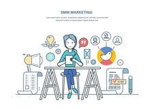 Smm marknadsföring Advertizing befordran i sociala nätverk, varor och tjänst Arkivfoton