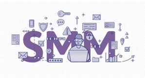 SMM, medios márketing social Bandera del concepto con un charcter, letras e iconos Ejemplo plano coloreado del vector encendido libre illustration