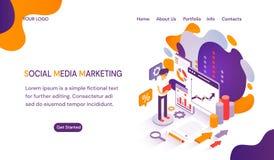 SMM - Socialt massmedia som marknadsför websitemallen med utrymme för text royaltyfri illustrationer