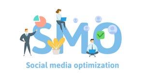 SMO, concepto social de la optimización de los medios Concepto con palabras claves, letras, e iconos Ejemplo plano del vector ais ilustración del vector