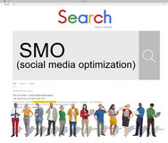 SMO Social Media Optimization Online Technology Networking Conce Stock Image