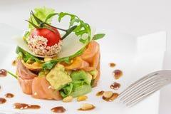 Smock salmon and avocado salad Stock Photos