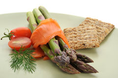 Smocked Salmon and Asparagus Royalty Free Stock Photos