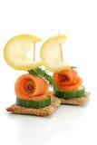 Smocked Salmon Finger-food Stock Photo