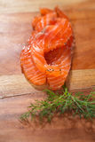 Smocked salmon slices and dill Royalty Free Stock Images
