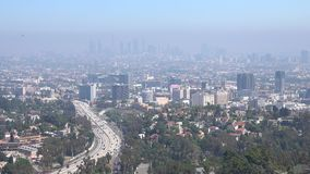 Smog Air Pollution in Hollywood and Downtown Los Angeles