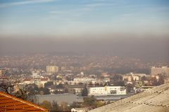 Airpollution air pollution in winter, Valjevo, Serbia Royalty Free Stock Photos