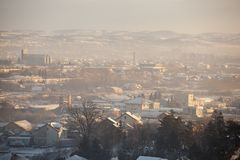 Fog and smog over the city, winter scene - Airpollution air pollution in winter, Valjevo, Serbia Stock Photo