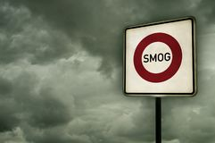 Smog area. Roadsign smog area under dark sky - 3d illustration Stock Images
