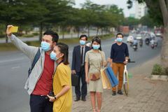 Smog in busy city center Royalty Free Stock Photos