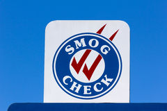 Smog Check Sign. At automotive repair shop in the United States Stock Image